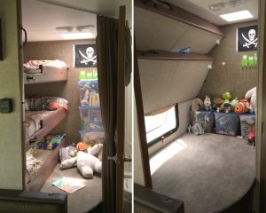 After the changes the kids all have their own bunks, that fold up for a carpeted play area.