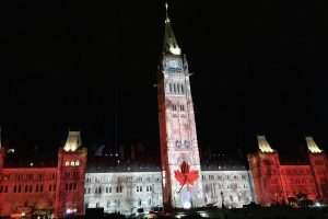 The end of the Northern Lights show at Parliament Hill. I may or may not have welled up with tears of Canadian Pride.