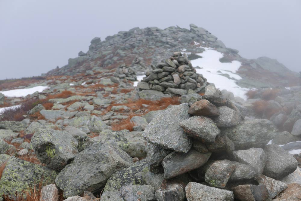 Rock pile path markers on mount Washington.