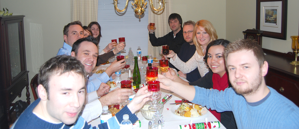 A Fraser/Farr Christmas. Aaron and I in front, Jason and Cynthia, Adam and Patricia (Ian's girl friend at the time, Cheryl (Jason's wife) and Ian, Lindsay (John's wife) and John lifting his glass in a holiday toast.