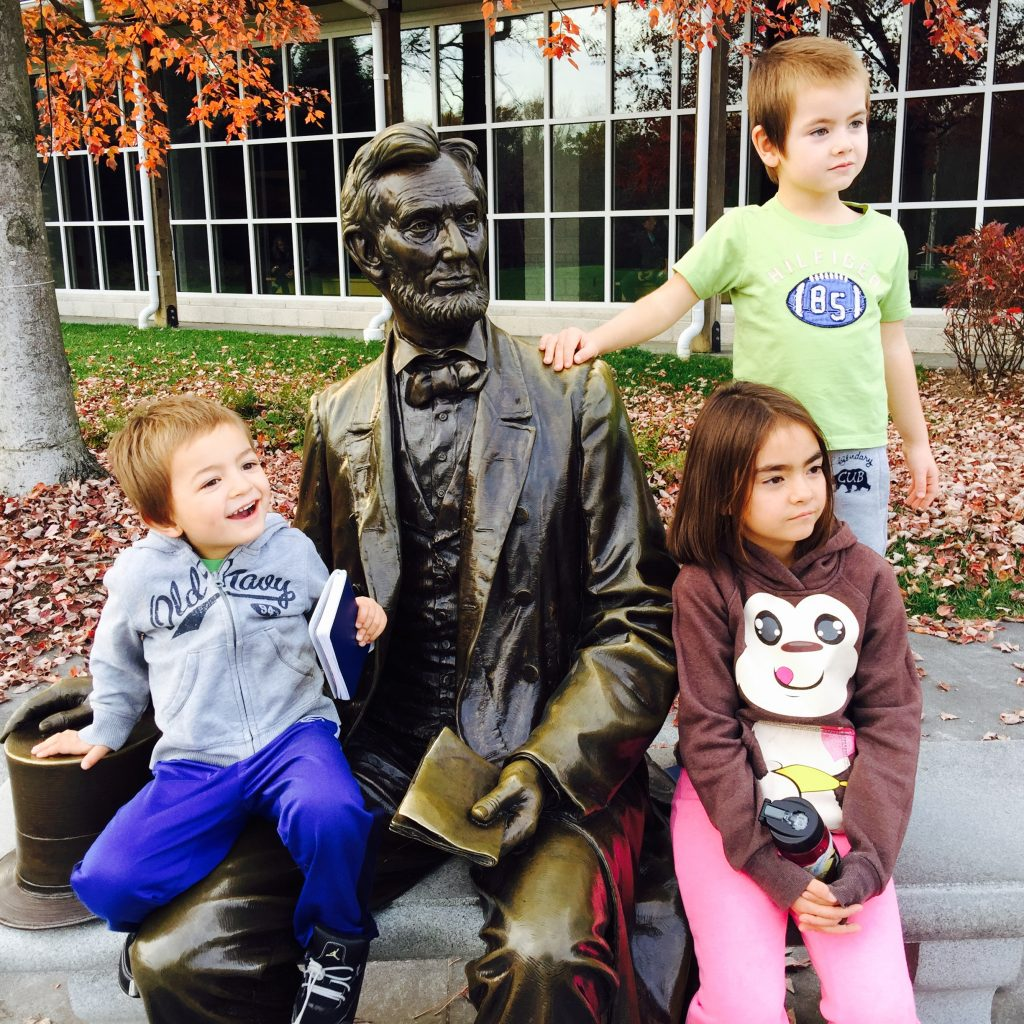 The kids at the Gettysburg national park.